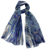 Cotton Silk scarf - Blue and Grey - Silk Scarves