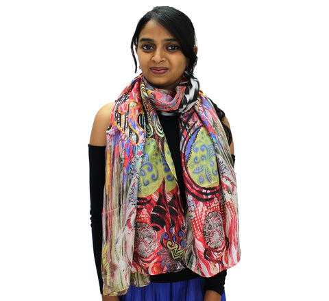 Multi color silk scarf for ladies | Carnival style Best of 2020