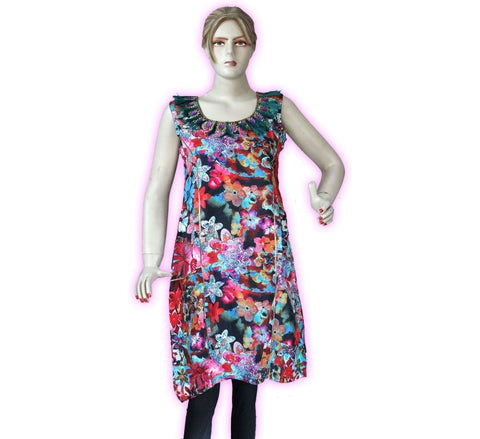 Tunic - Digital printed Hand Embroidery Tunic Dress