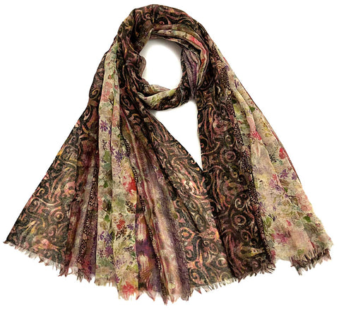 Cozy wool scarf | thin wool floral cashmere shawl