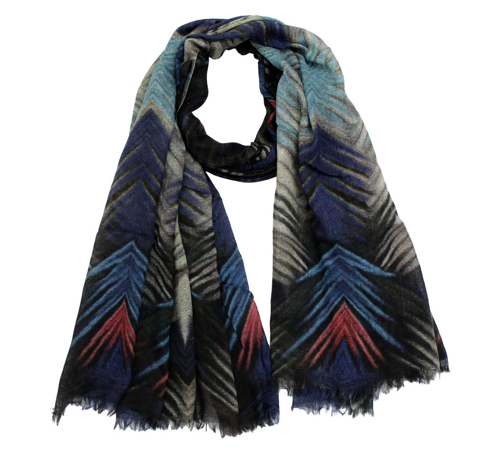 Wool Scarf Geomatric print | cashmere wool - Wool Scarves