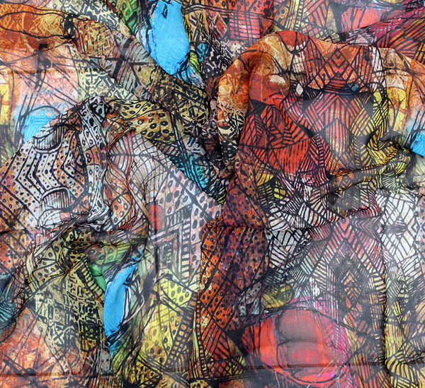 Georgette fabric - multi color abstract digital print