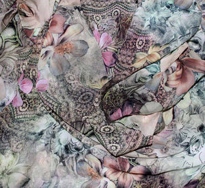 Digital printed floral georgette fabric