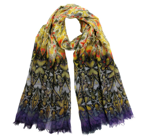 Ikat print wool scarf | Yellow shawl