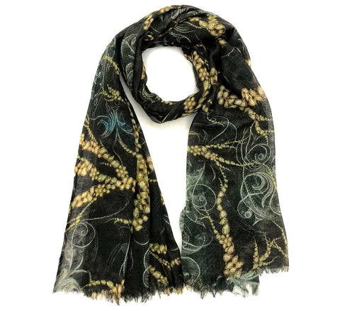 Black wool scarf | Winter wool scarf