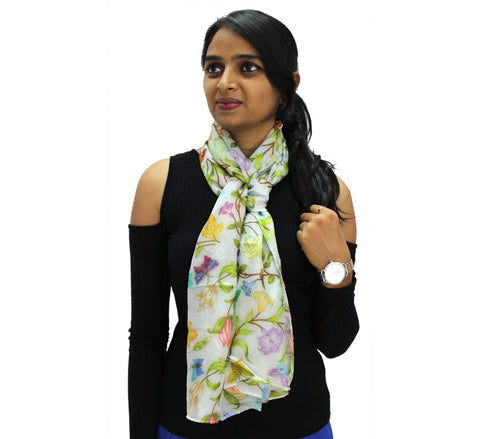 Floral long Silk scarf | Skinny floral neck accessory