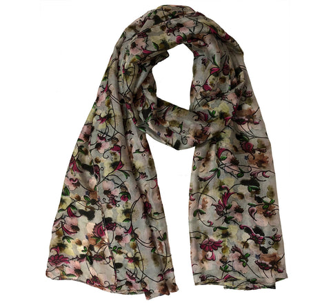 Oblong half off motif silk scarf