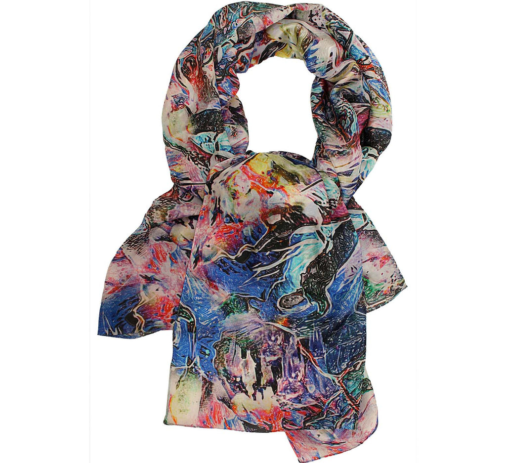 Abstract silk neck scarf
