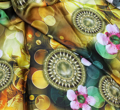Digital printed silk fabric for garment