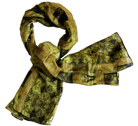Oblong silk scarf egypt | Black and yellow scarf