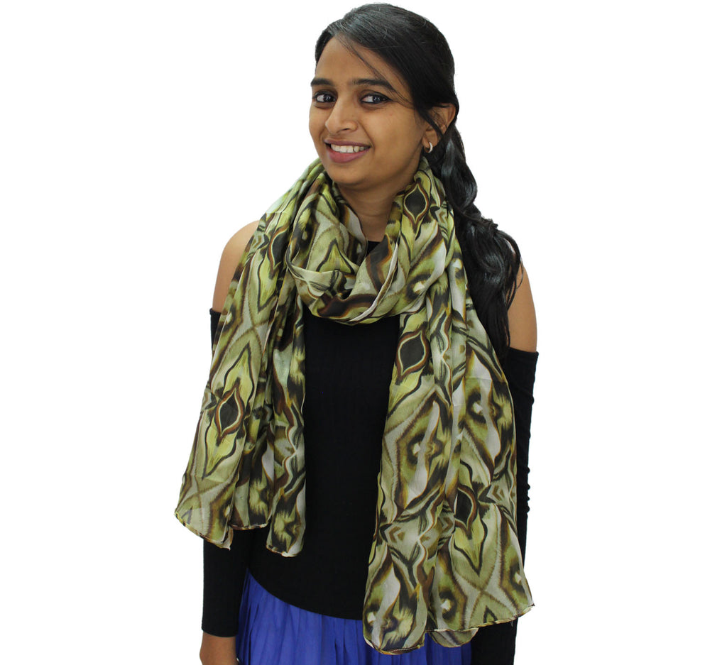 pattern long silk scarf