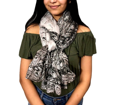 Black and white silk scarf | light weight oblong neck scarf
