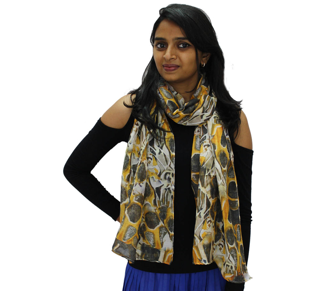 Cotton Silk scarf | Long Stone texture print Scarf - Silk Scarves