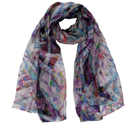 Artwork womens silk scarf | Printed oblong silk scarf