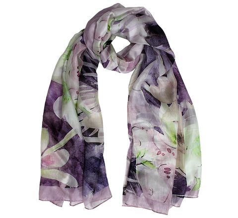 Extra long silk neck scarf for women with floral print
