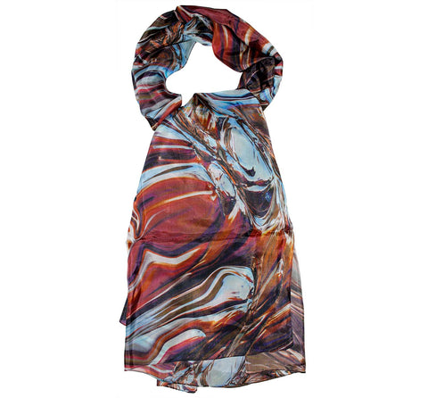 brown and blue scarf | Long scarf