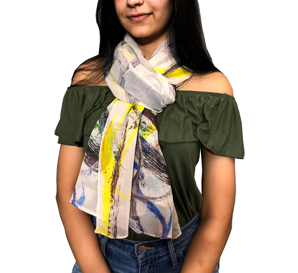 Silk Chiffon Scarf - Mirrored Paint strokes - Silk Scarves