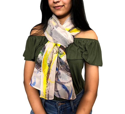 Silk Chiffon Scarf - Mirrored Paint strokes