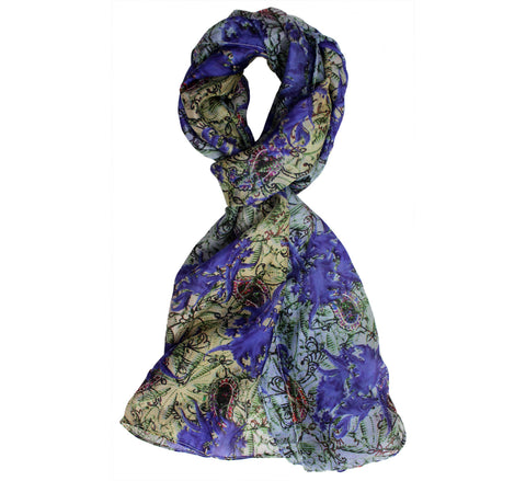 Women's Paisley Blue Silk Scarf