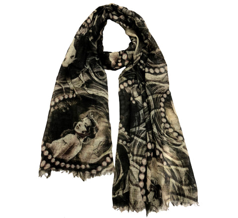 Wool scarf black | Picturesque printed