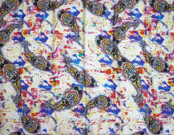 Printed silk fabric