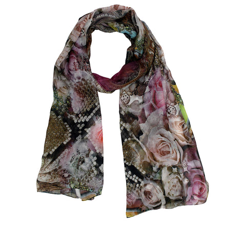 Rose and paisley print modal scarf