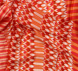 Red stripe satin digital print fabric