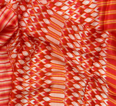 Red stripe satin fabric