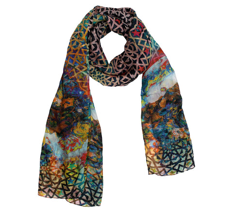 Marbling silk scarf for women