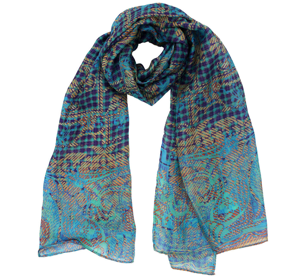 Turquoise oblong Silk Scarf