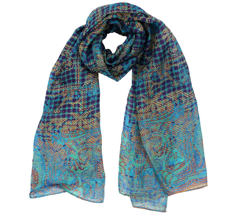 Oblong Silk Scarf | Blue pattern scarf for ladies