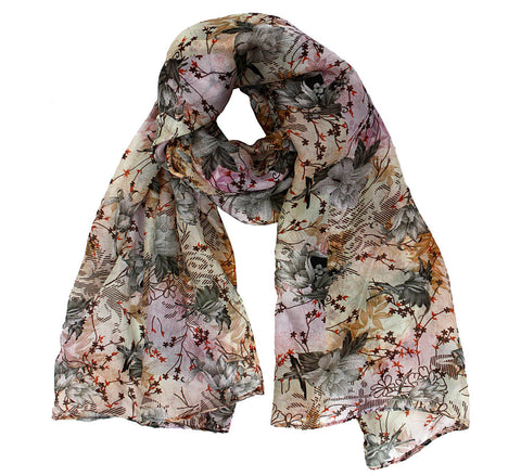 Beige silk scarf | Printed long scarf