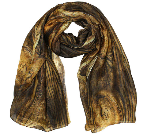 Wood texture Silk Scarf