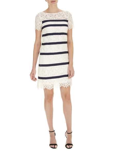 Cream Bethany Stripe Lace Dress - Havren - 1