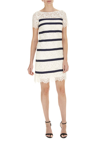 Cream Bethany Stripe Lace Dress