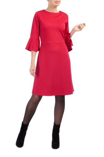 Red Lexi Fluted Sleeve Dress