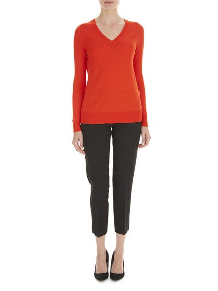 Red Burst Lydia V Neck Jumper - Havren - 1