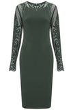 Forest Green Paige Lace Sleeve Dress - Havren - 2