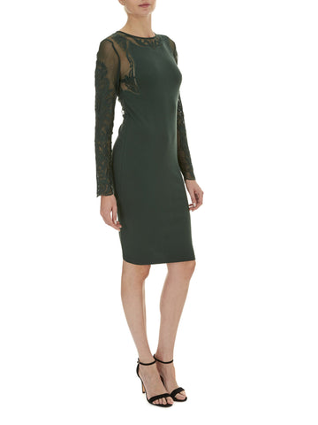Forest Green Paige Lace Sleeve Dress
