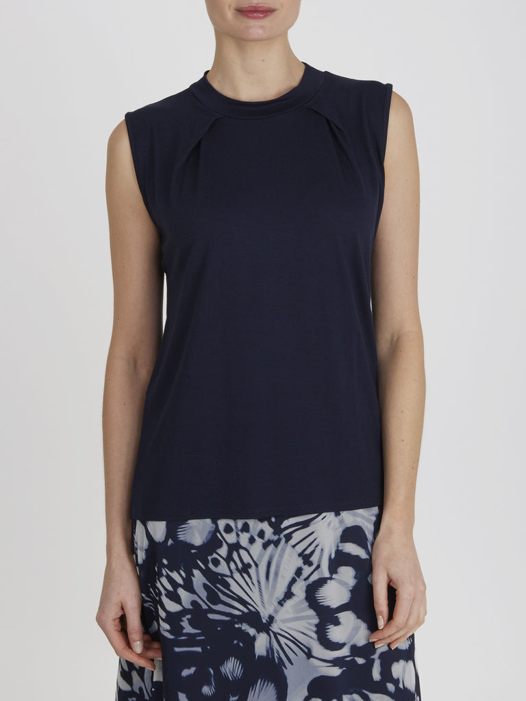 Navy Thea High Neck Top - Havren