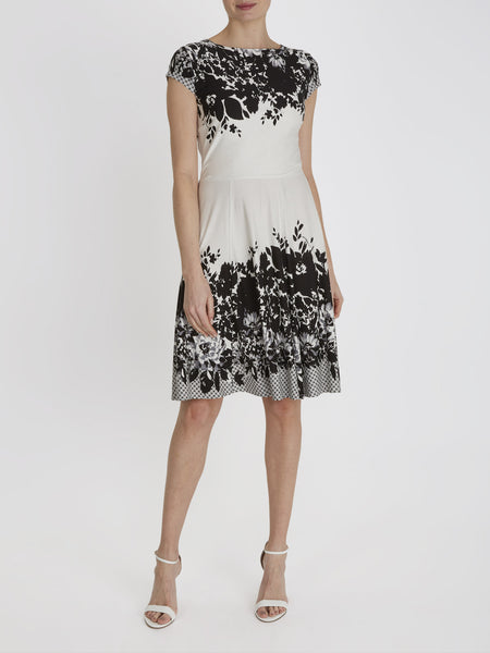 Cream Darcy Floral Border Dress - Havren