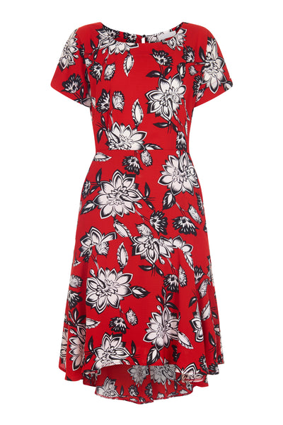 Red Clarke Rose Frill Step Dress - Havren