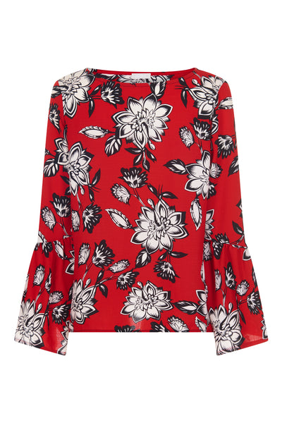 Red Clarke Rose Fluted Top - Havren
