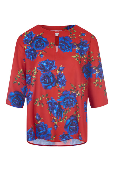 Red Camilla Rose Print Blouse