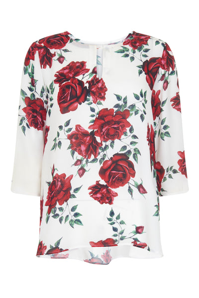 Cream Camilla Rose Print Blouse - Havren