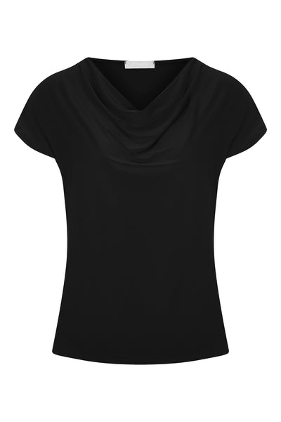 Black Levi Cowl Neck Top - Havren