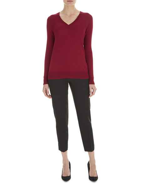 Deep Wine Lydia V Neck Jumper - Havren - 1