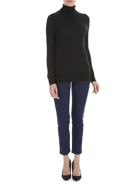 Black Penny Roll Neck Jumper - Havren - 1