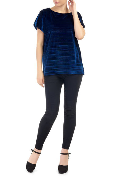 Azure Annette Crushed Velvet Top
