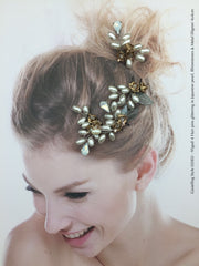 Style 02002 Bridal Accessory Hair Pin (set of 4) with Japanese Pearl and Crystal Rhinestones from Swarovski®. SGD95.